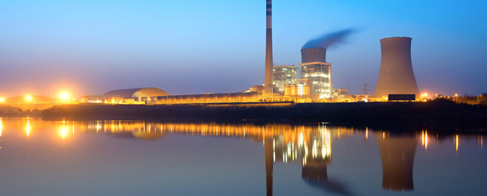 Nuclear power plant in the evening