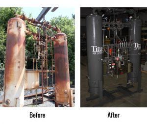 Before and after photo of an industrial air system