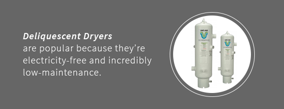 Deliquescent dryers are electricity-free and low maintenance