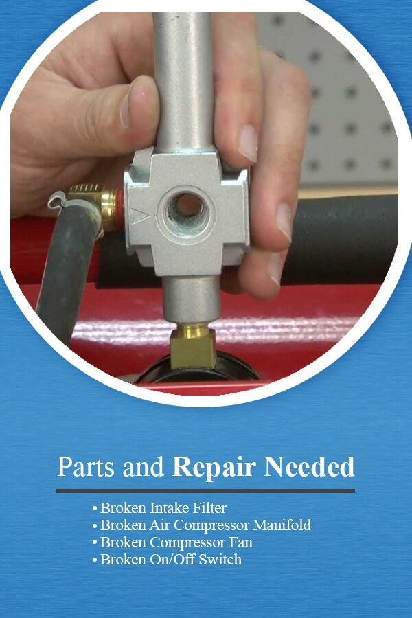 Common parts and repairs needed for industrial air compressors